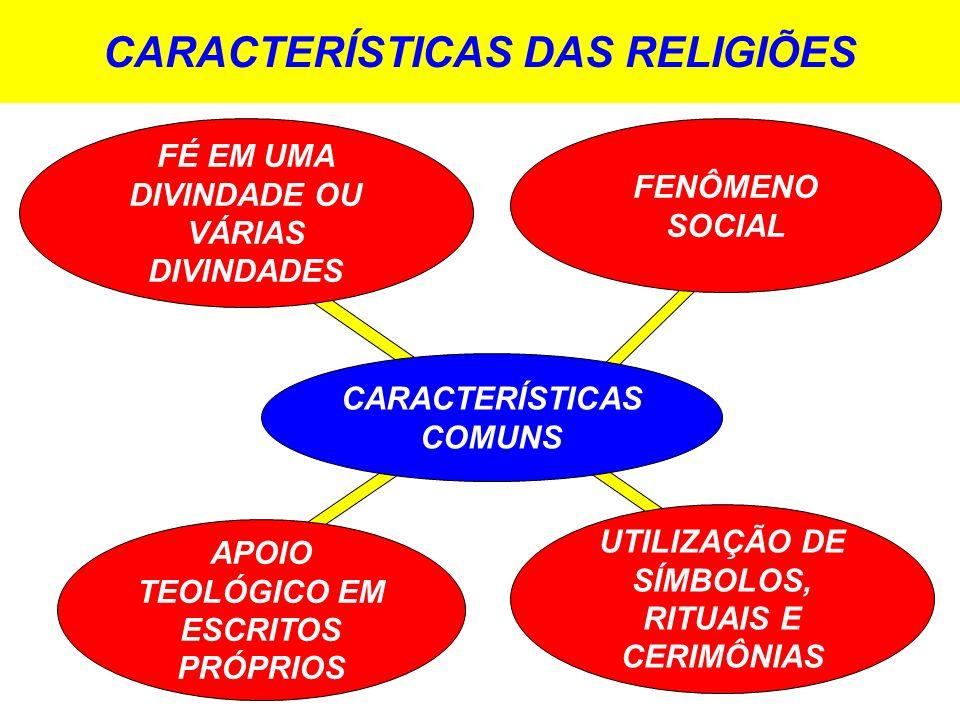 CARACTERÍSTICAS DAS RELIGIÕES CARACTERÍSTICAS COMUNS FÉ EM UMA DIVINDADE OU VÁRIAS DIVINDADES FENÔMENO SOCIAL UTILIZAÇÃO DE SÍMBOLOS, RITUAIS E CERIMÔ