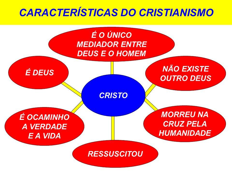 CARACTERÍSTICAS DO CRISTIANISMO CRISTO É DEUS É O ÚNICO MEDIADOR ENTRE DEUS E O HOMEM NÃO EXISTE OUTRO DEUS MORREU NA CRUZ PELA HUMANIDADE RESSUSCITOU É OCAMINHO A VERDADE E A VIDA