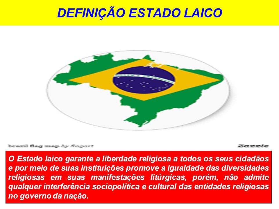 DEFINIÇÃO ESTADO LAICO O Estado laico garante a liberdade religiosa a todos os seus cidadãos e por meio de suas instituições promove a igualdade das diversidades religiosas em suas manifestações litúrgicas, porém, não admite qualquer interferência sociopolítica e cultural das entidades religiosas no governo da nação.