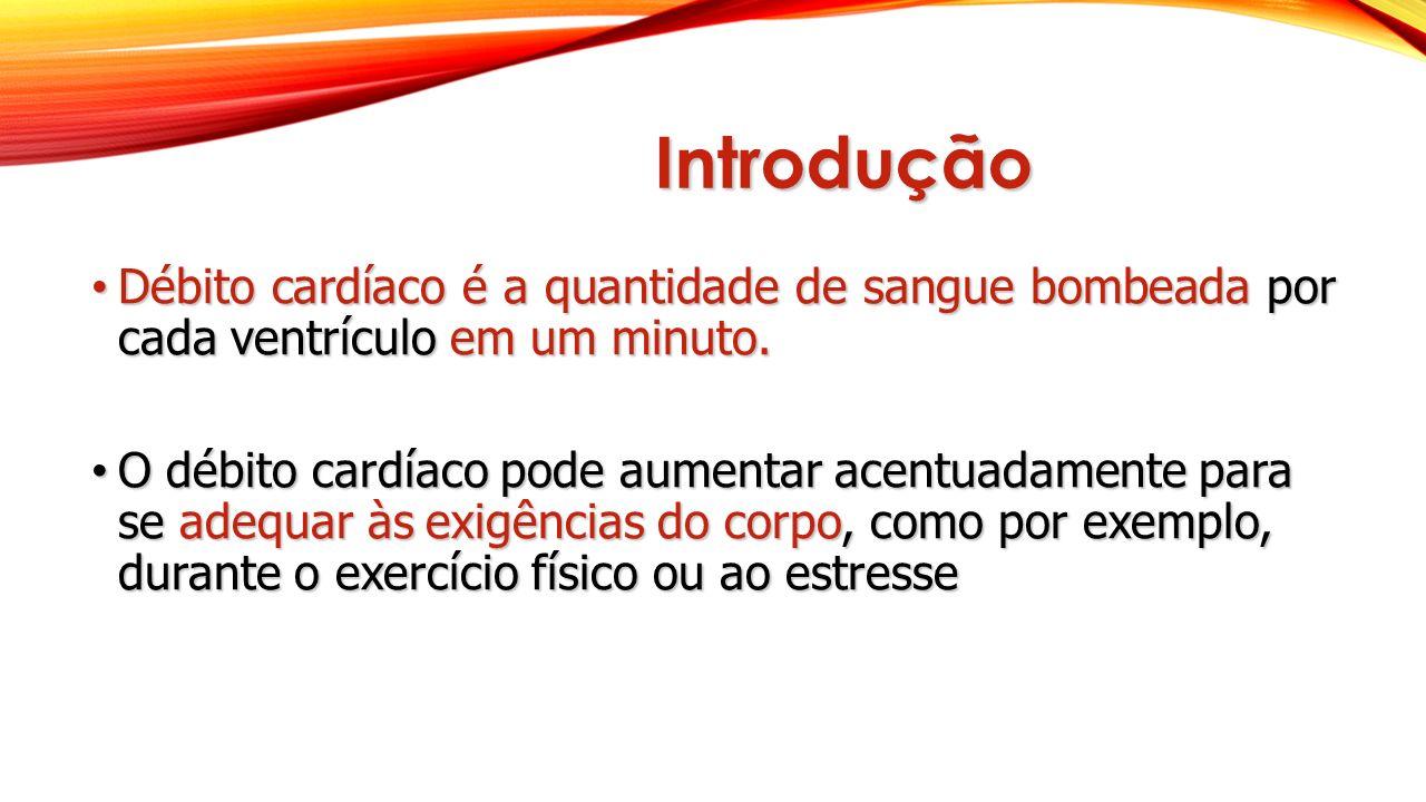 Introdução Débito cardíaco é a quantidade de sangue bombeada por cada ventrículo em um minuto.