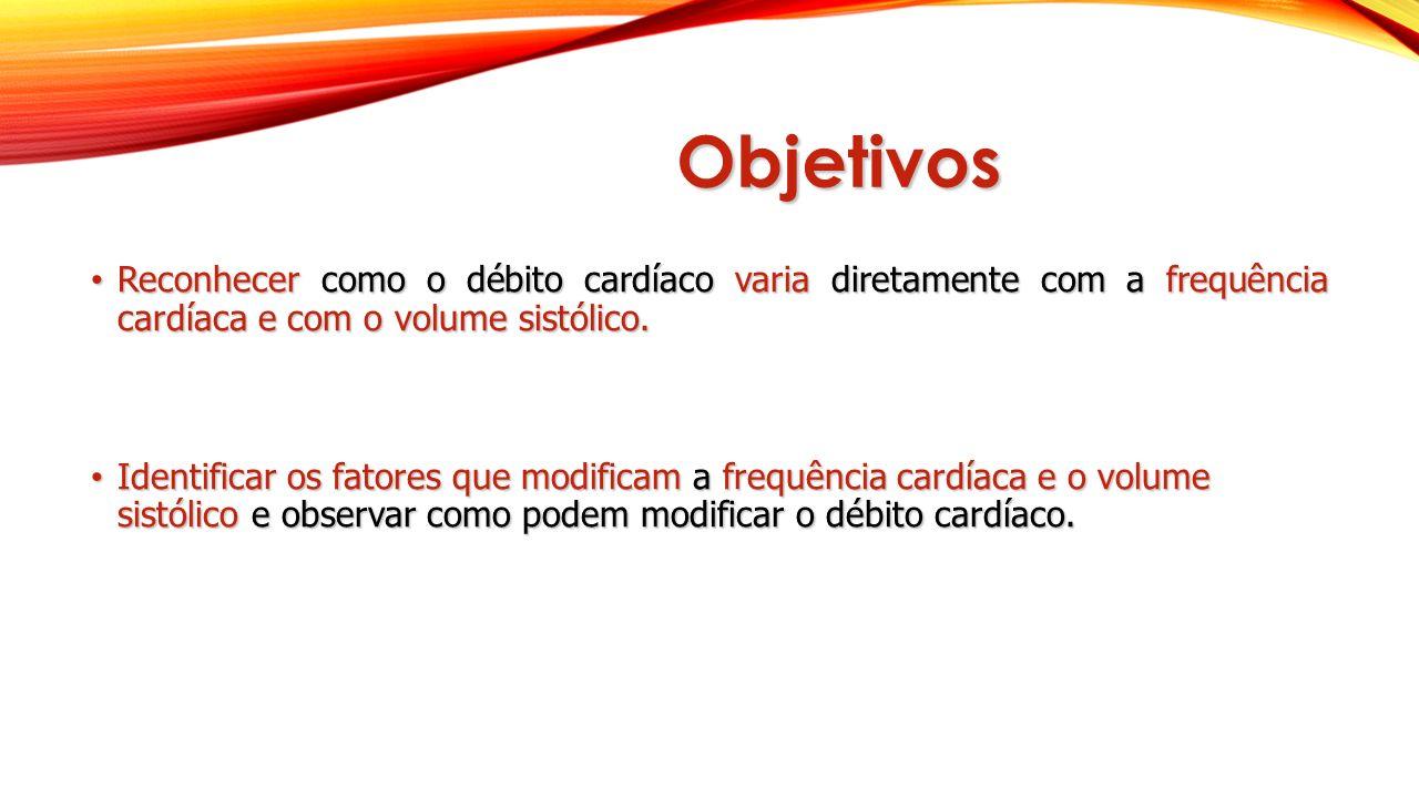 Objetivos Reconhecer como o débito cardíaco varia diretamente com a frequência cardíaca e com o volume sistólico.