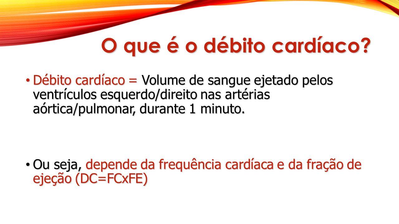 O que é o débito cardíaco? Débito cardíaco = Volume de sangue ejetado pelos ventrículos esquerdo/direito nas artérias aórtica/pulmonar, durante 1 minu
