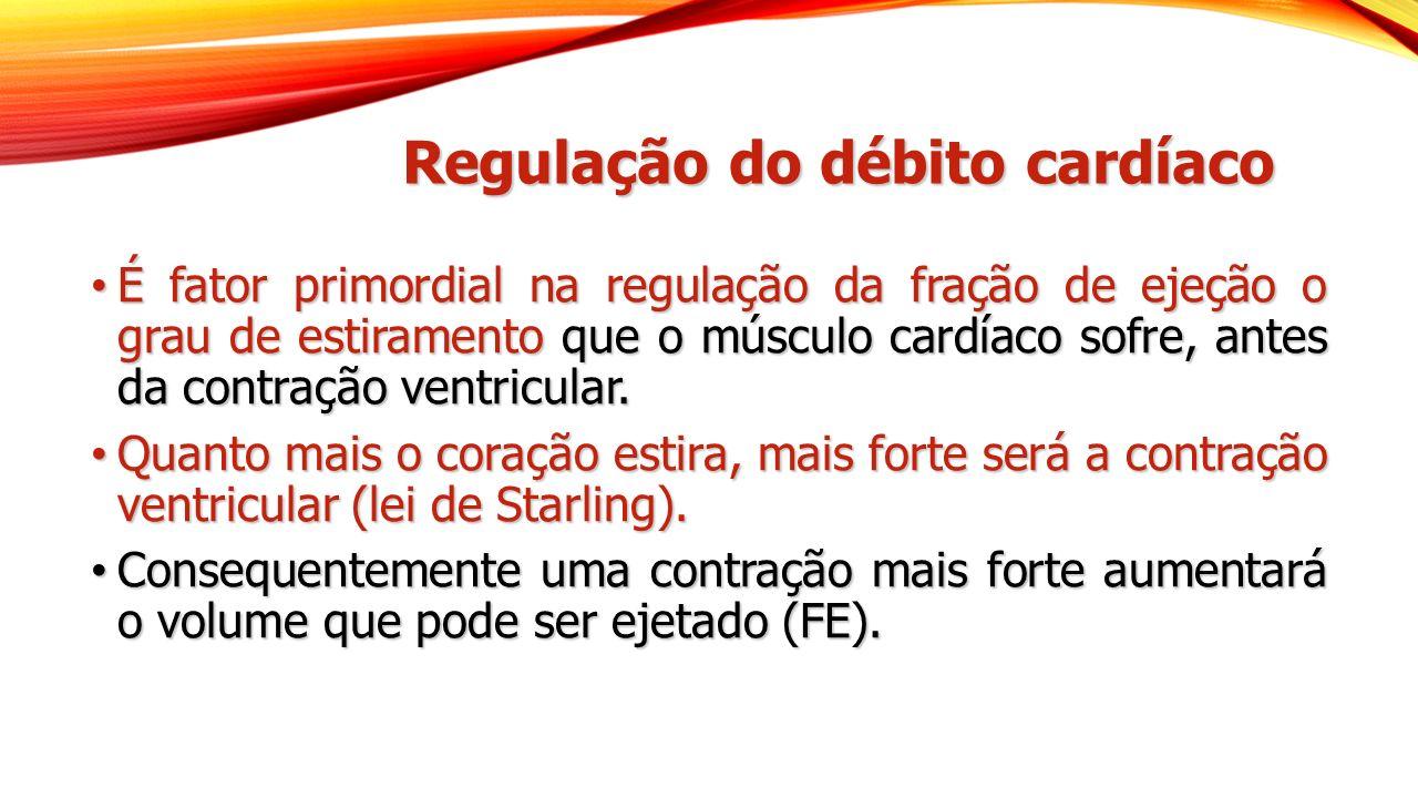 Regulação do débito cardíaco É fator primordial na regulação da fração de ejeção o grau de estiramento que o músculo cardíaco sofre, antes da contraçã