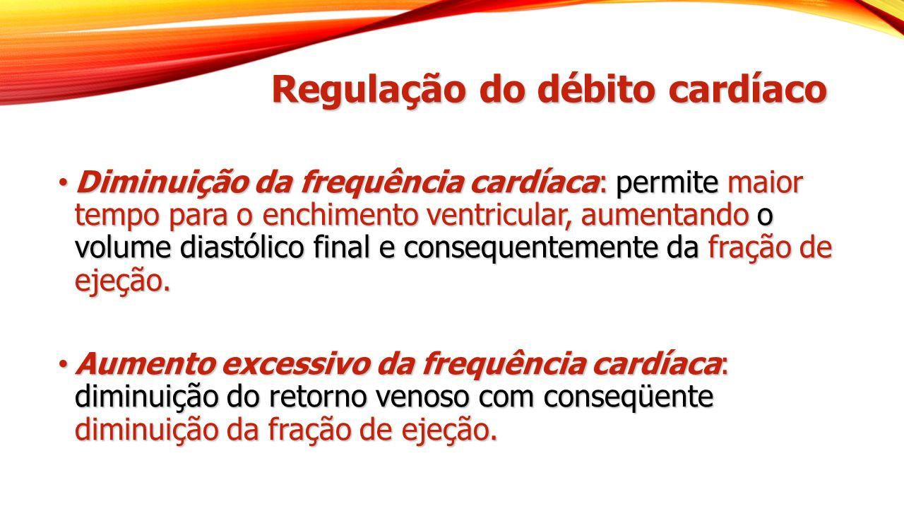 Regulação do débito cardíaco Diminuição da frequência cardíaca: permite maior tempo para o enchimento ventricular, aumentando o volume diastólico final e consequentemente da fração de ejeção.