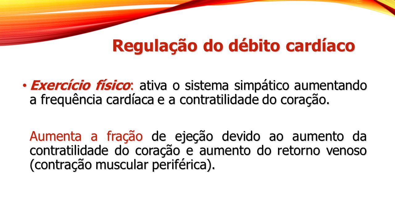 Regulação do débito cardíaco Exercício físico: ativa o sistema simpático aumentando a frequência cardíaca e a contratilidade do coração. Exercício fís