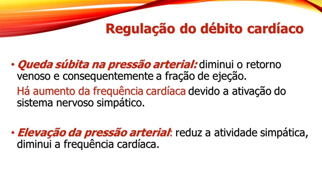 Regulação do débito cardíaco Queda súbita na pressão arterial: diminui o retorno venoso e consequentemente a fração de ejeção. Queda súbita na pressão