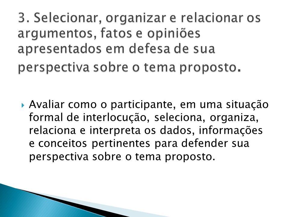  Avaliar como o participante, em uma situação formal de interlocução, seleciona, organiza, relaciona e interpreta os dados, informações e conceitos pertinentes para defender sua perspectiva sobre o tema proposto.