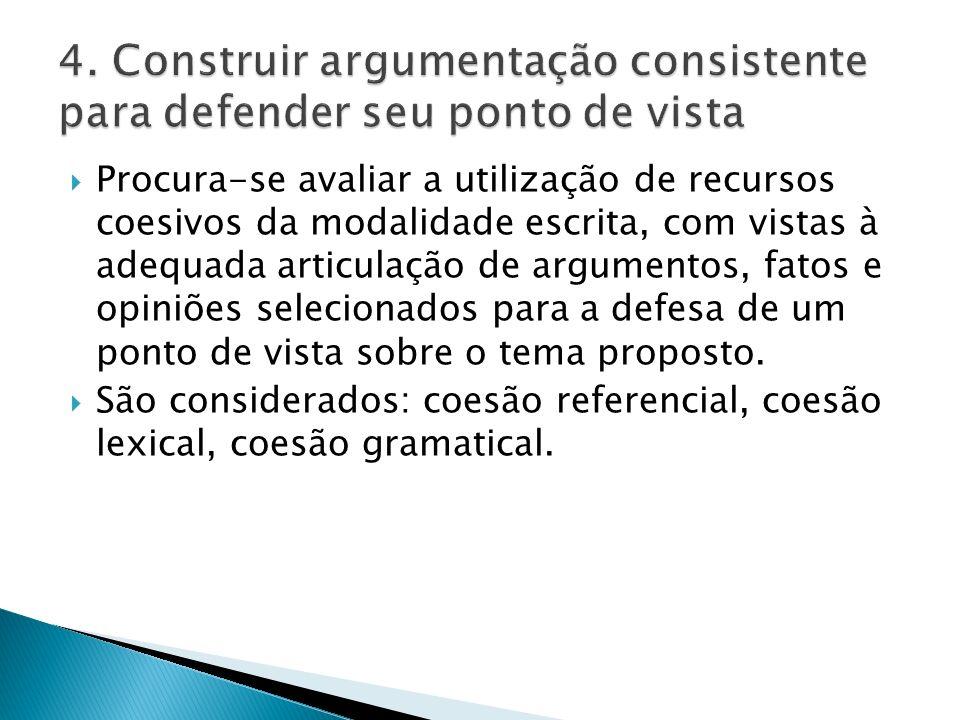  Procura-se avaliar a utilização de recursos coesivos da modalidade escrita, com vistas à adequada articulação de argumentos, fatos e opiniões selecionados para a defesa de um ponto de vista sobre o tema proposto.