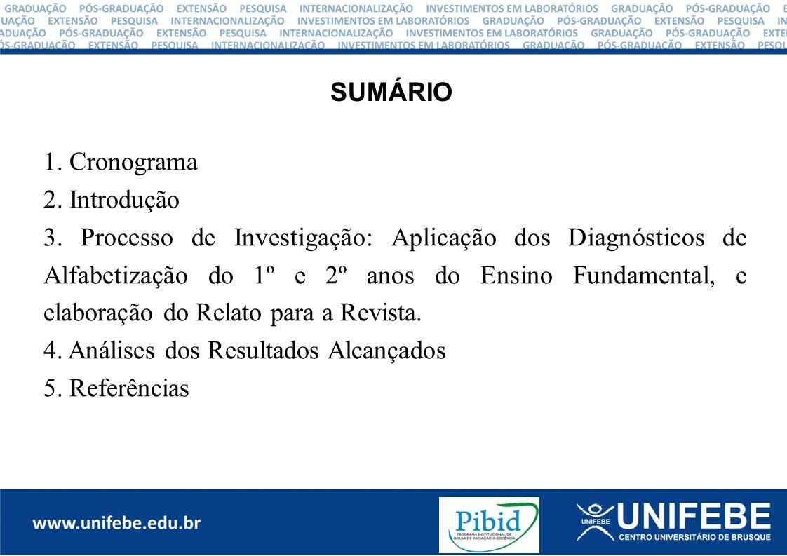 CRONOGRAMA DO MÊS DE OUTUBRO