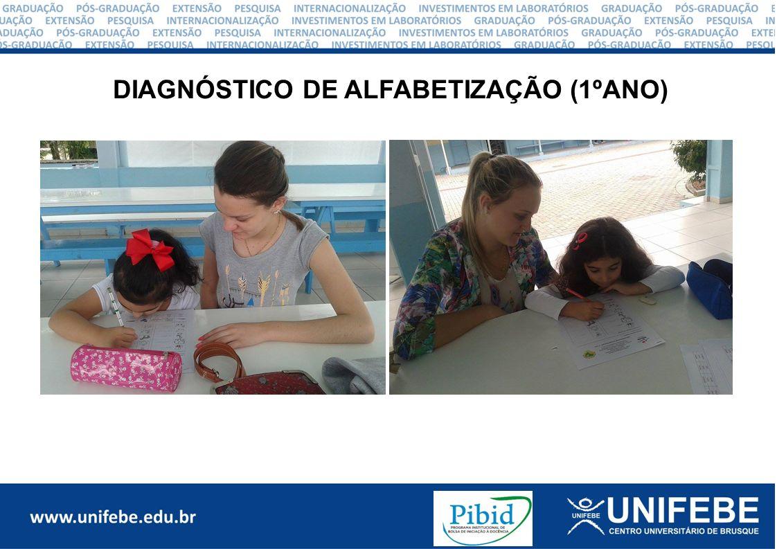 Aplicamos o diagnóstico de alfabetização com a turma do 2º ano, num total de 16 crianças.