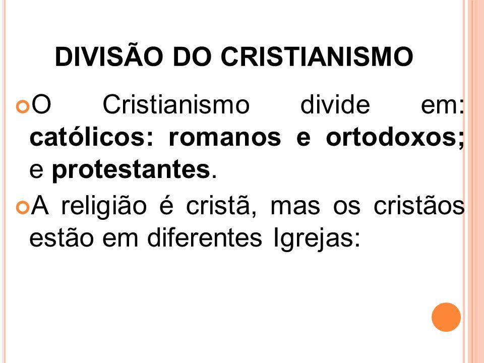 DIVISÃO DO CRISTIANISMO O Cristianismo divide em: católicos: romanos e ortodoxos; e protestantes. A religião é cristã, mas os cristãos estão em difere