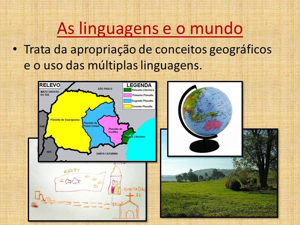 As linguagens e o mundo Trata da apropriação de conceitos geográficos e o uso das múltiplas linguagens.