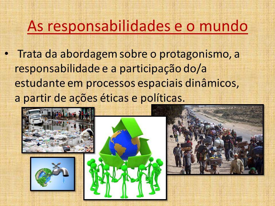 As responsabilidades e o mundo Trata da abordagem sobre o protagonismo, a responsabilidade e a participação do/a estudante em processos espaciais dinâmicos, a partir de ações éticas e políticas.
