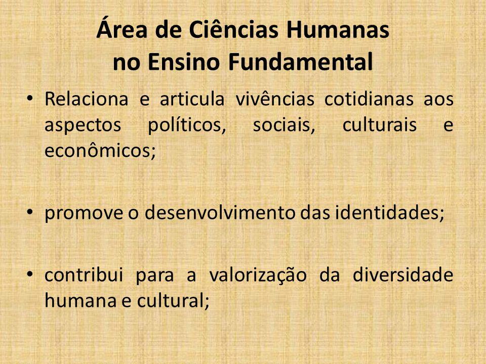 Área de Ciências Humanas no Ensino Fundamental Relaciona e articula vivências cotidianas aos aspectos políticos, sociais, culturais e econômicos; promove o desenvolvimento das identidades; contribui para a valorização da diversidade humana e cultural;