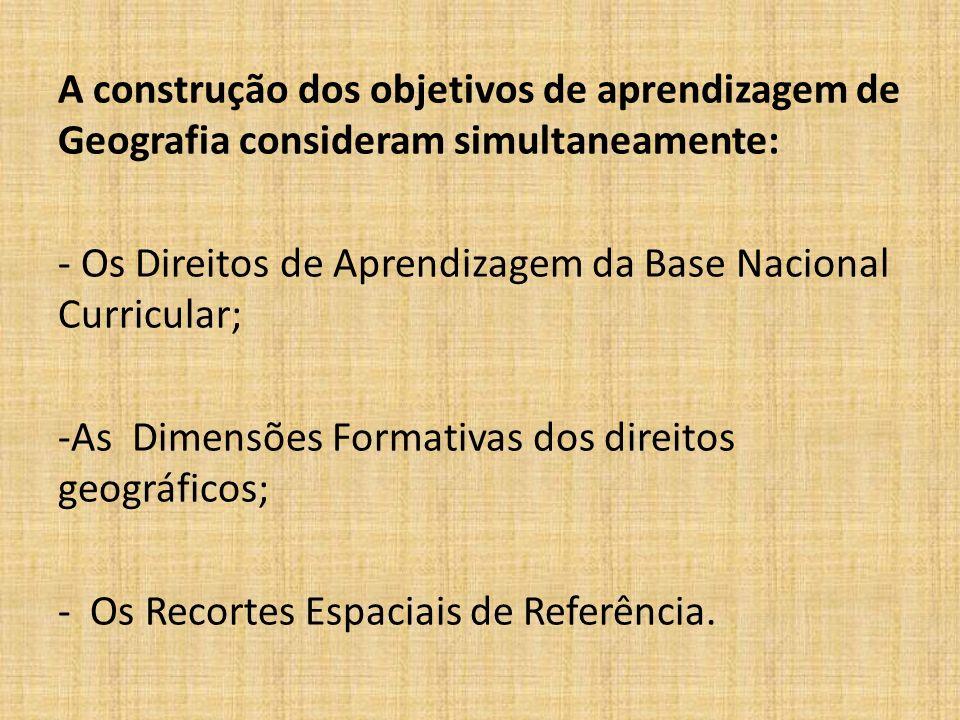 A construção dos objetivos de aprendizagem de Geografia consideram simultaneamente: - Os Direitos de Aprendizagem da Base Nacional Curricular; -As Dimensões Formativas dos direitos geográficos; - Os Recortes Espaciais de Referência.