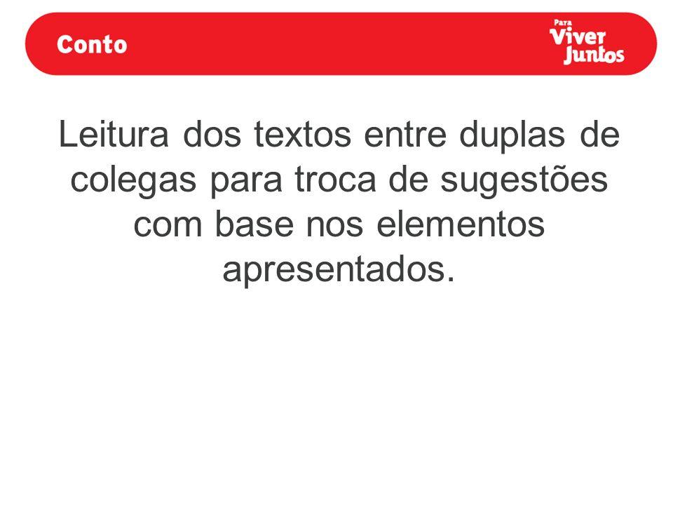 Leitura dos textos entre duplas de colegas para troca de sugestões com base nos elementos apresentados.