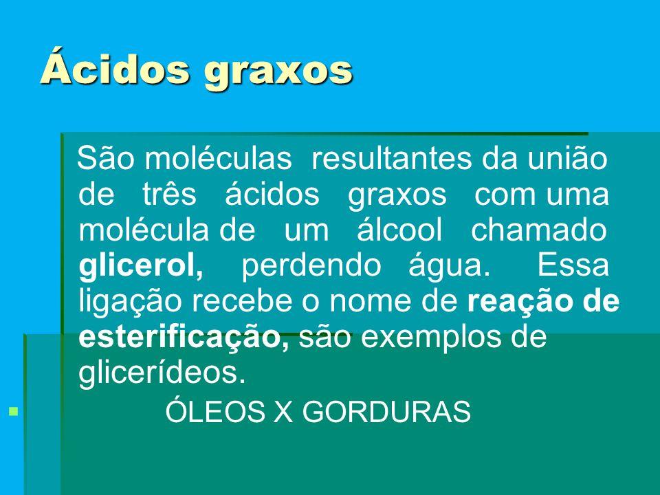Ácidos graxos São moléculas resultantes da união de três ácidos graxos com uma molécula de um álcool chamado glicerol, perdendo água.