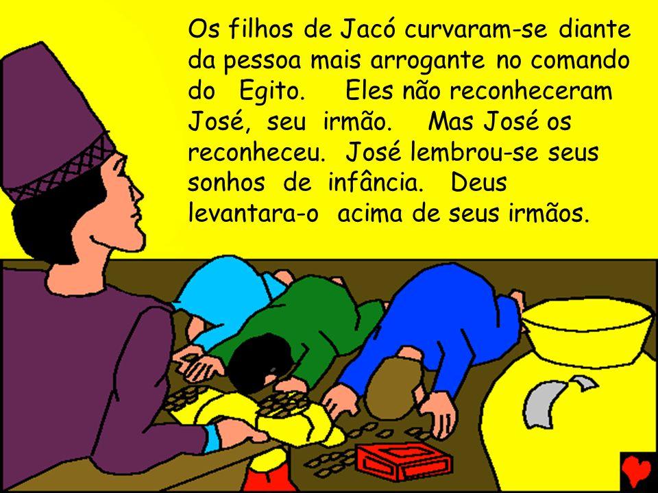 Os filhos de Jacó curvaram-se diante da pessoa mais arrogante no comando do Egito.Eles não reconheceram José, seu irmão.Mas José os reconheceu.José le