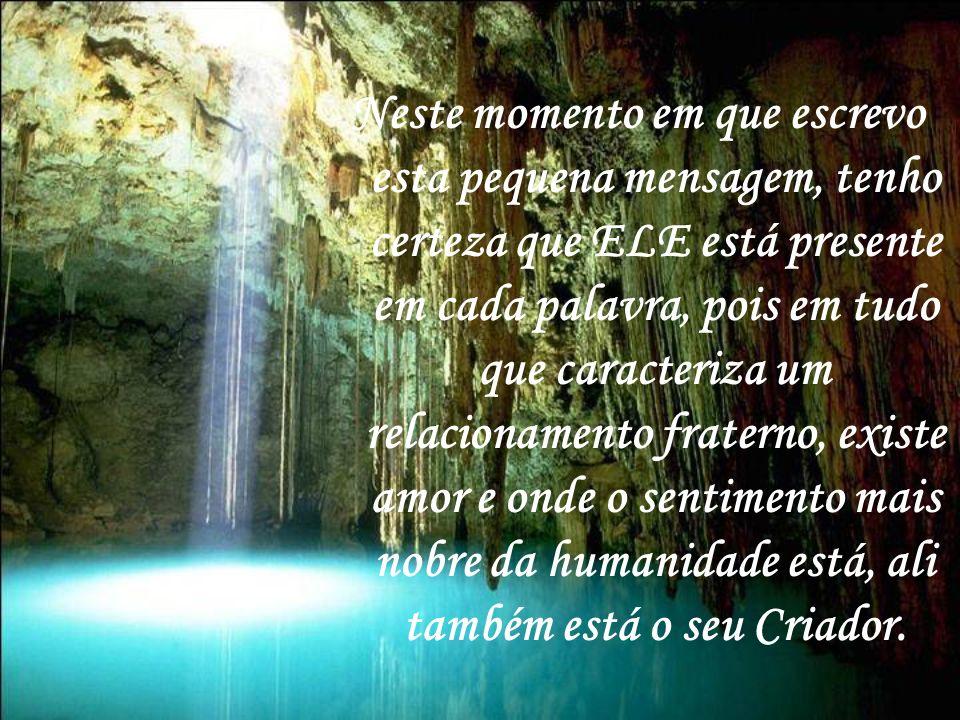 A partir daquele dia não mais pedi para ver Deus, pedi sim para Ele me dar sabedoria para sentir Sua presença nos meus caminhos.
