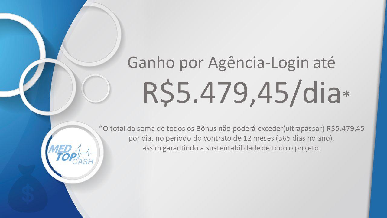 Ganho por Agência-Login até R$5.479,45/dia * *O total da soma de todos os Bônus não poderá exceder(ultrapassar) R$5.479,45 por dia, no período do cont