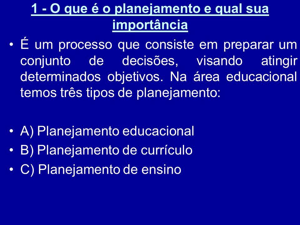 2 – Planejamento educacional, de currículo e de ensino Planejamento educacional: consiste na tomada de decisões sobre a educação no conjunto do desenvolvimento geral do país.
