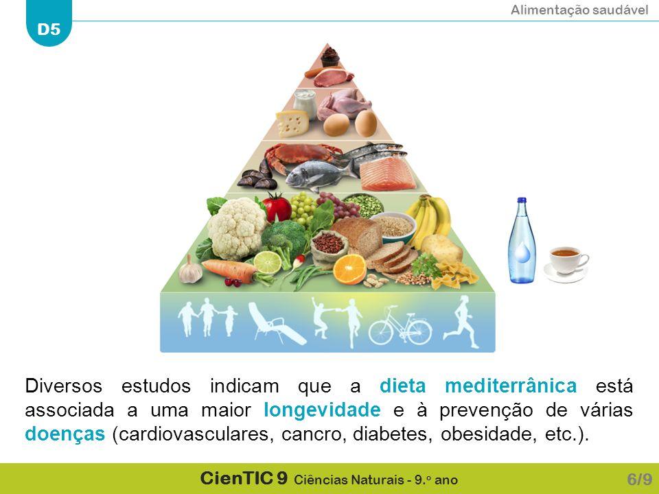 Alimentação saudável D5 CienTIC 9 Ciências Naturais - 9. o ano Diversos estudos indicam que a dieta mediterrânica está associada a uma maior longevida