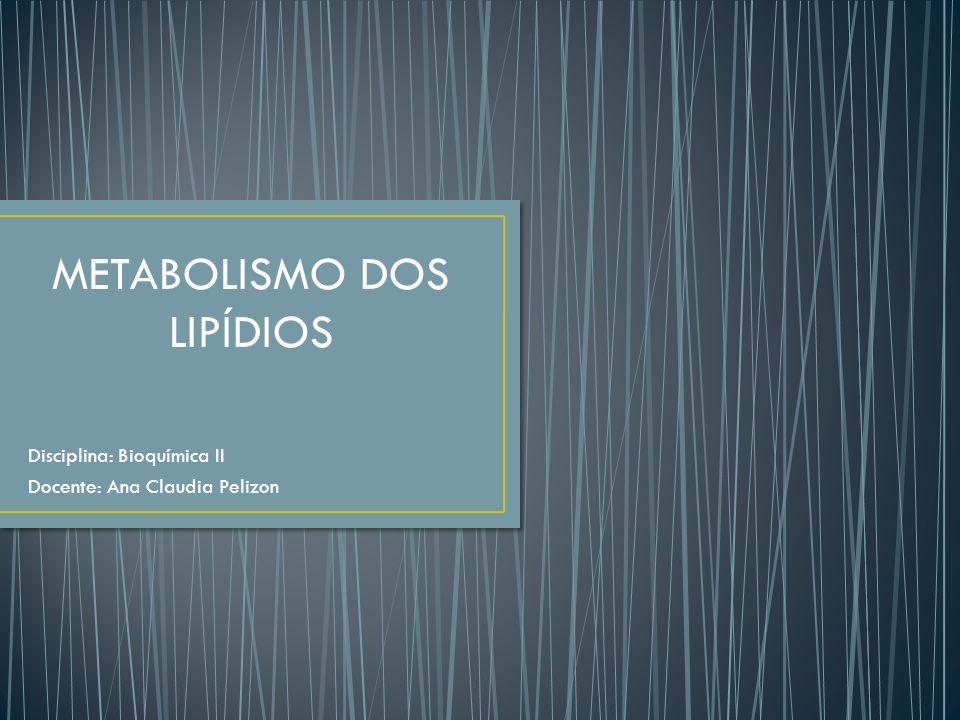 Disciplina: Bioquímica II Docente: Ana Claudia Pelizon METABOLISMO DOS LIPÍDIOS