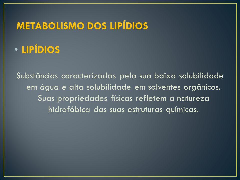 LIPÍDIOS Substâncias caracterizadas pela sua baixa solubilidade em água e alta solubilidade em solventes orgânicos. Suas propriedades físicas refletem