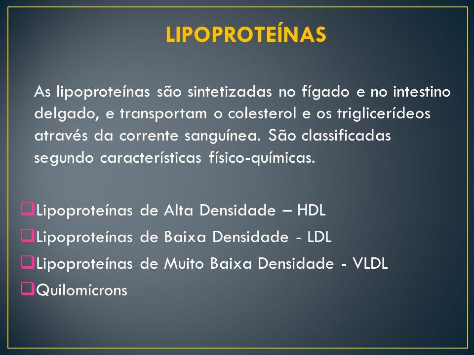 LIPOPROTEÍNAS As lipoproteínas são sintetizadas no fígado e no intestino delgado, e transportam o colesterol e os triglicerídeos através da corrente s