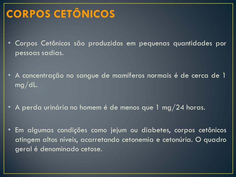 Corpos Cetônicos são produzidos em pequenas quantidades por pessoas sadias. A concentração no sangue de mamíferos normais é de cerca de 1 mg/dL. A per