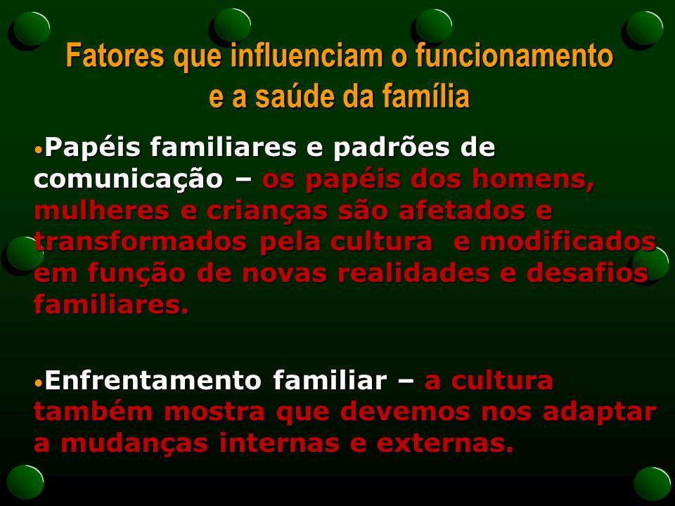 Fatores que influenciam o funcionamento e a saúde da família Papéis familiares e padrões de comunicação – os papéis dos homens, mulheres e crianças sã