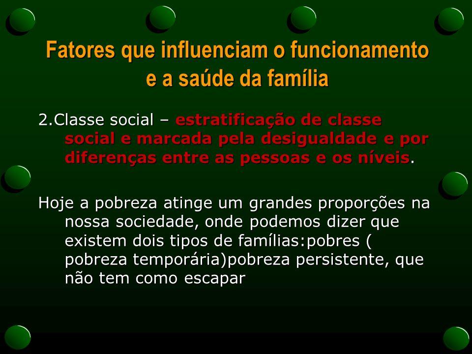 Fatores que influenciam o funcionamento e a saúde da família 2.Classe social – estratificação de classe social e marcada pela desigualdade e por diferenças entre as pessoas e os níveis.