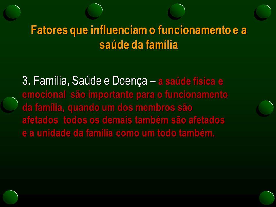 Fatores que influenciam o funcionamento e a saúde da família 3. Família, Saúde e Doença – a saúde física e emocional são importante para o funcionamen