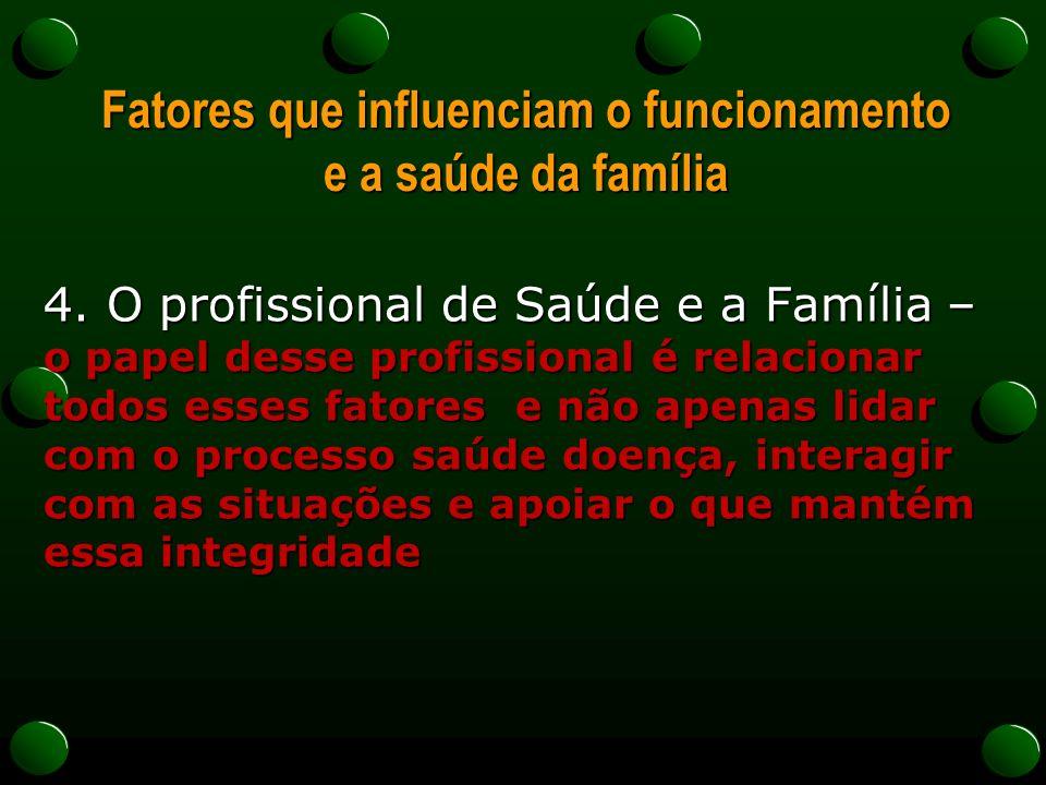 Fatores que influenciam o funcionamento e a saúde da família 4. O profissional de Saúde e a Família – o papel desse profissional é relacionar todos es