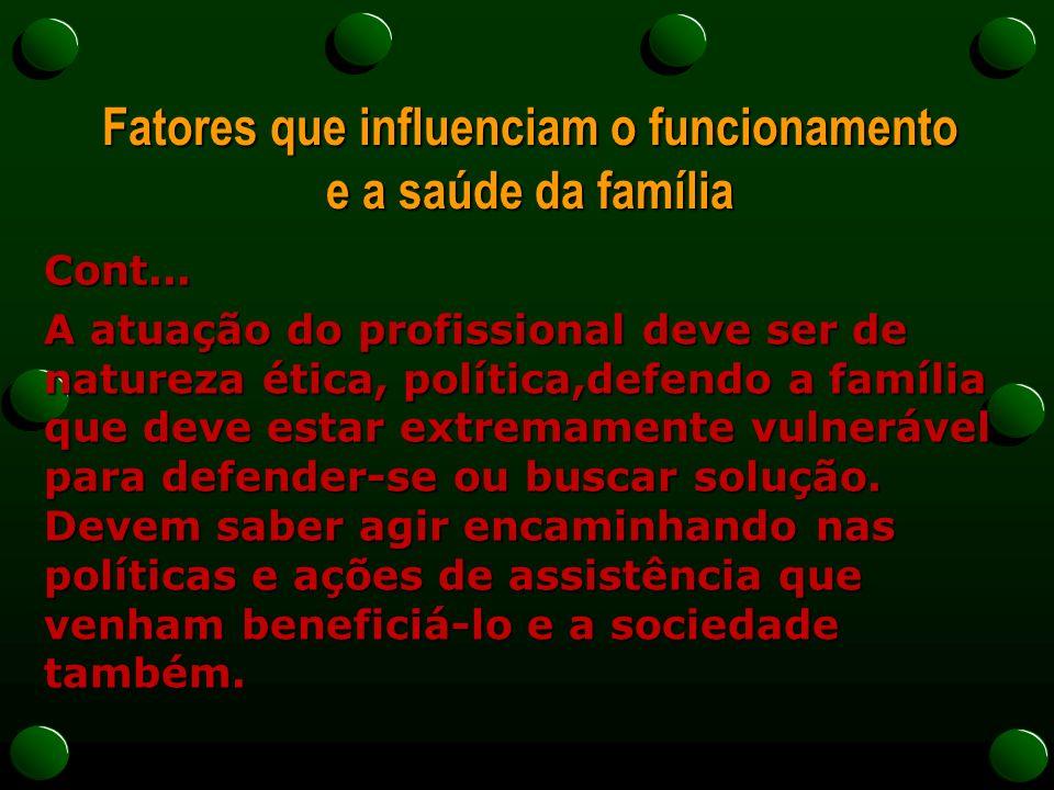 Fatores que influenciam o funcionamento e a saúde da família Cont... A atuação do profissional deve ser de natureza ética, política,defendo a família