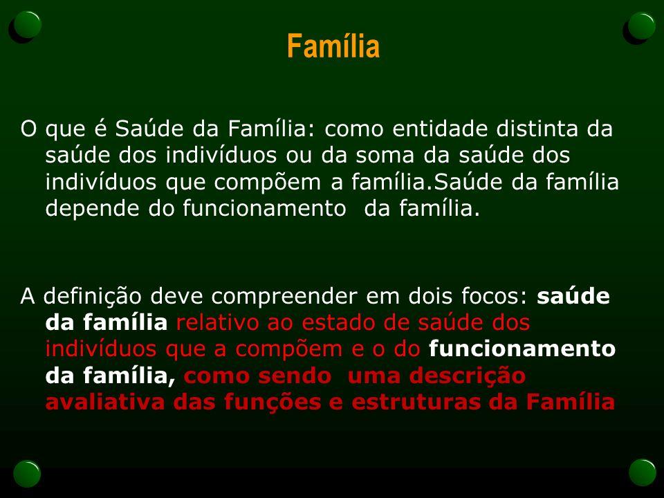 Família O que é Saúde da Família: como entidade distinta da saúde dos indivíduos ou da soma da saúde dos indivíduos que compõem a família.Saúde da família depende do funcionamento da família.