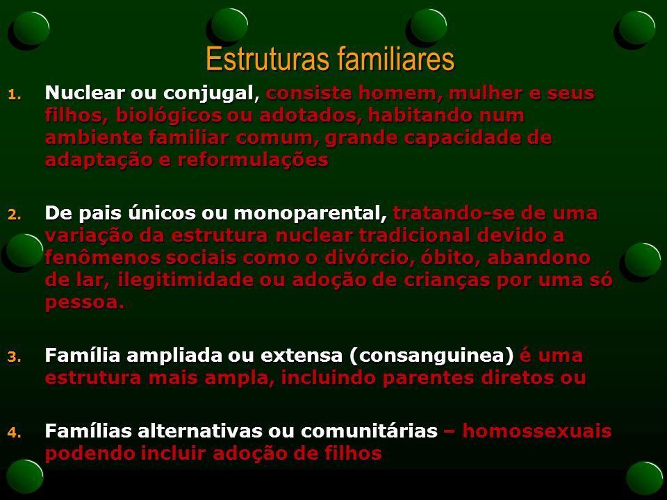 Estruturas familiares 1. Nuclear ou conjugal, consiste homem, mulher e seus filhos, biológicos ou adotados, habitando num ambiente familiar comum, gra