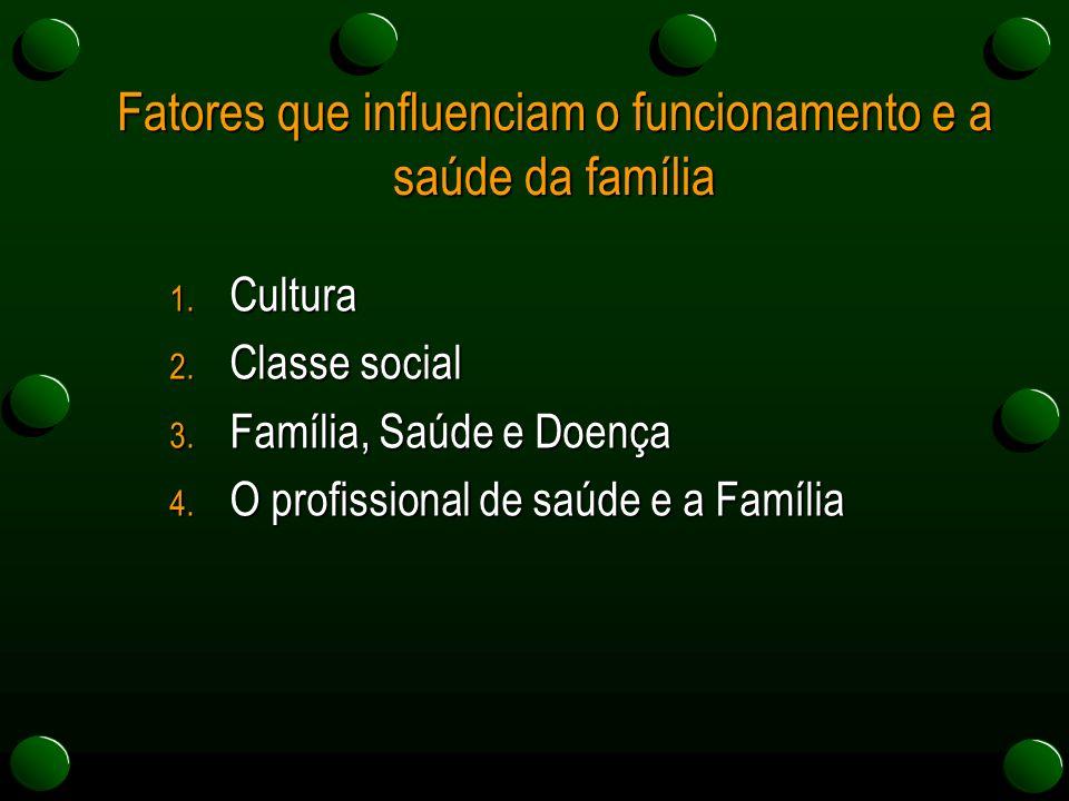 Fatores que influenciam o funcionamento e a saúde da família 1. Cultura 2. Classe social 3. Família, Saúde e Doença 4. O profissional de saúde e a Fam