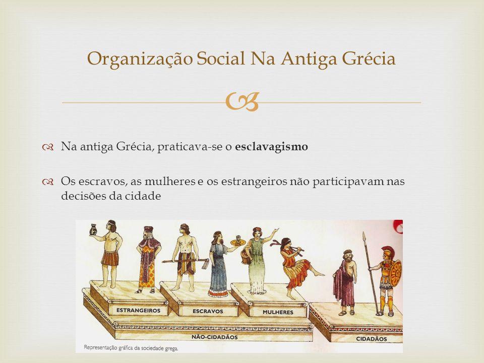   Na antiga Grécia, praticava-se o esclavagismo  Os escravos, as mulheres e os estrangeiros não participavam nas decisões da cidade Organização Social Na Antiga Grécia