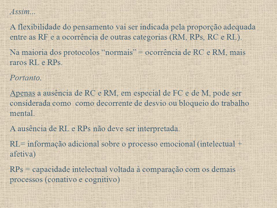 Assim... A flexibilidade do pensamento vai ser indicada pela proporção adequada entre as RF e a ocorrência de outras categorias (RM, RPs, RC e RL). Na