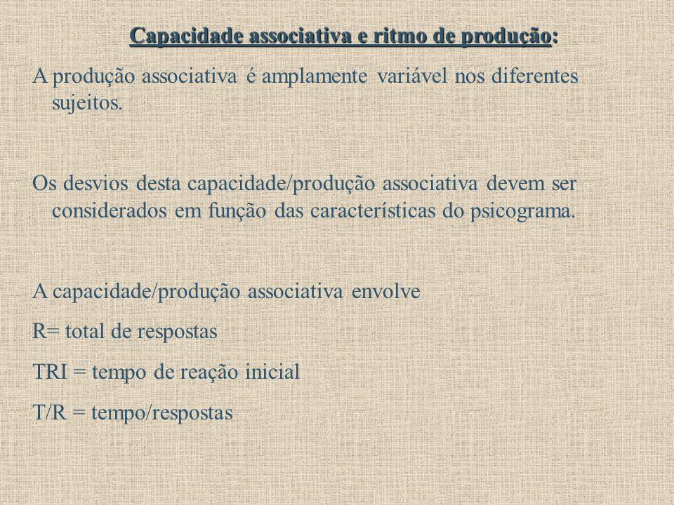 Capacidade associativa e ritmo de produção: A produção associativa é amplamente variável nos diferentes sujeitos. Os desvios desta capacidade/produção