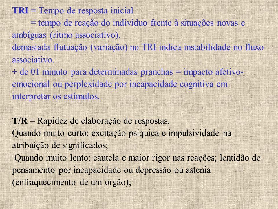 TRI = Tempo de resposta inicial = tempo de reação do indivíduo frente à situações novas e ambíguas (ritmo associativo). demasiada flutuação (variação)