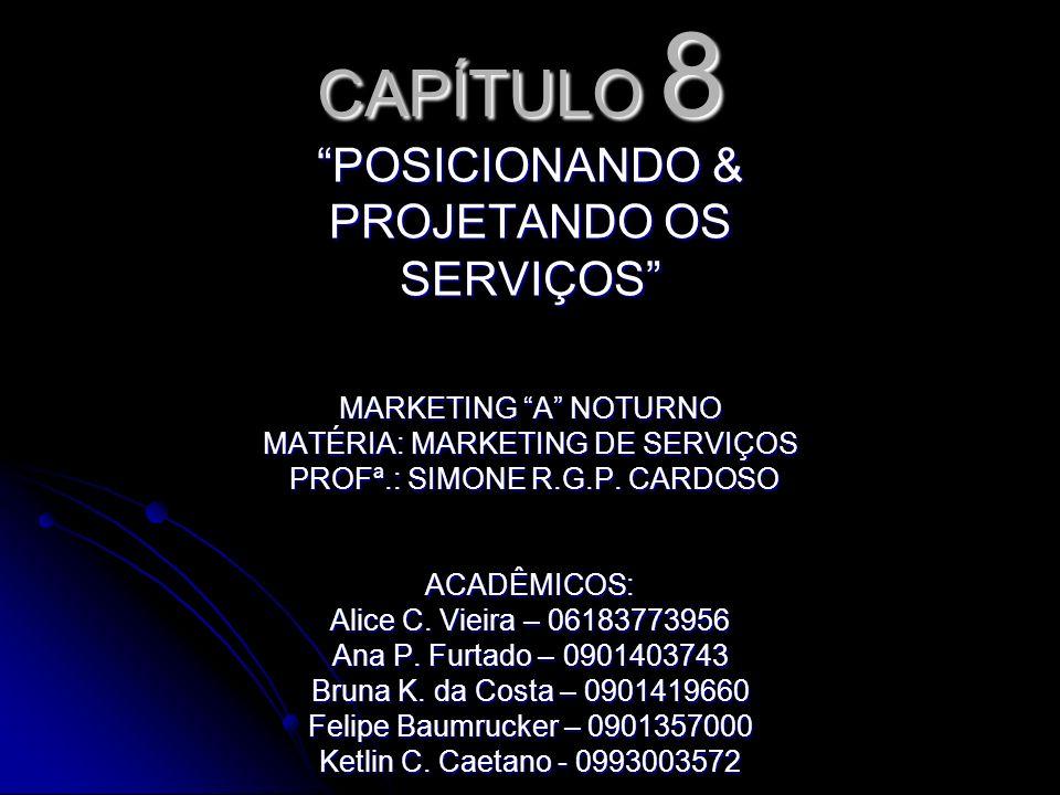 CAPÍTULO 8 POSICIONANDO & PROJETANDO OS SERVIÇOS MARKETING A NOTURNO MATÉRIA: MARKETING DE SERVIÇOS PROFª.: SIMONE R.G.P.