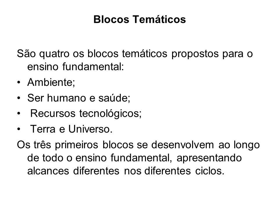 Blocos Temáticos São quatro os blocos temáticos propostos para o ensino fundamental: Ambiente; Ser humano e saúde; Recursos tecnológicos; Terra e Universo.
