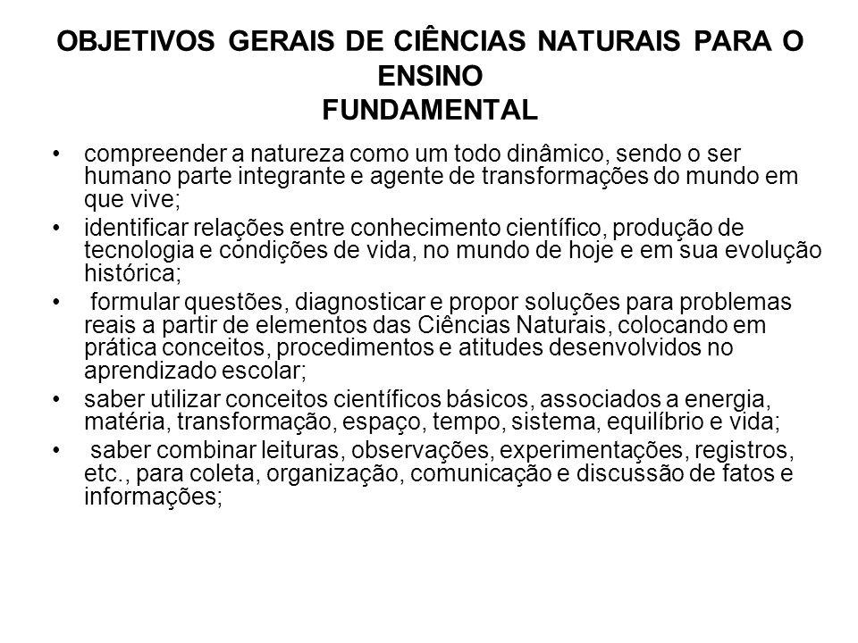 Critérios de avaliação de Ciências Naturais para o primeiro ciclo Os critérios de avaliação estão referenciados nos objetivos, mas, como se pode notar, não coincidem integralmente com eles.