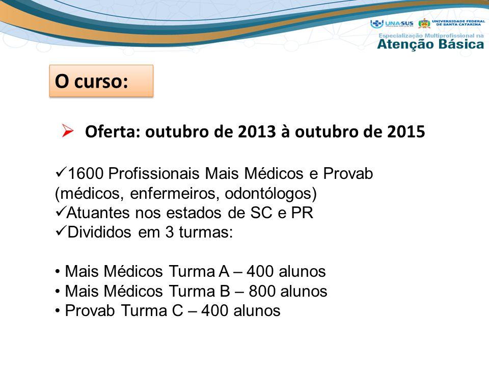  Oferta: outubro de 2013 à outubro de 2015 O curso: 1600 Profissionais Mais Médicos e Provab (médicos, enfermeiros, odontólogos) Atuantes nos estados