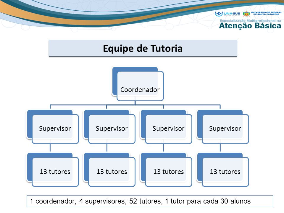 Equipe de Tutoria Coordenador Supervisor13 tutoresSupervisor13 tutoresSupervisor13 tutoresSupervisor13 tutores 1 coordenador; 4 supervisores; 52 tutor