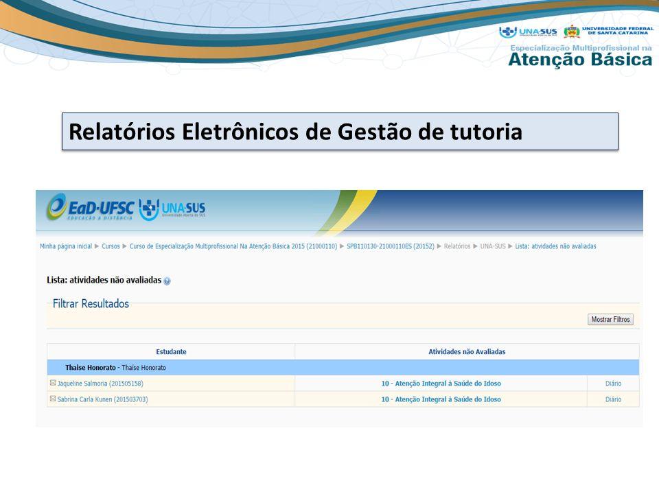 Relatórios Eletrônicos de Gestão de tutoria