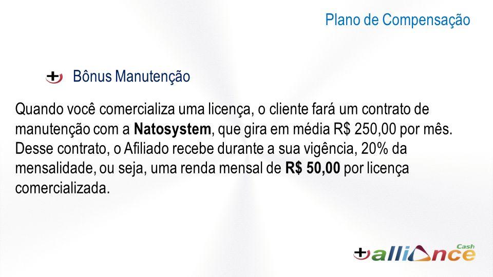 Bônus Manutenção Quando você comercializa uma licença, o cliente fará um contrato de manutenção com a Natosystem, que gira em média R$ 250,00 por mês.