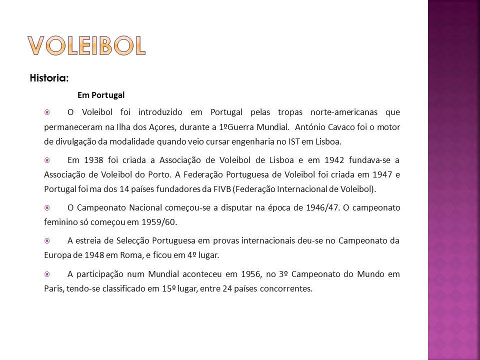 Historia: Em Portugal  O Voleibol foi introduzido em Portugal pelas tropas norte-americanas que permaneceram na Ilha dos Açores, durante a 1ºGuerra Mundial.